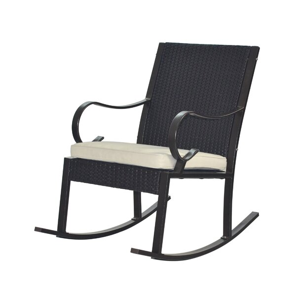 Kampmann Outdoor Wicker Rocking Chair With Cushions By August Grove by August Grove Best