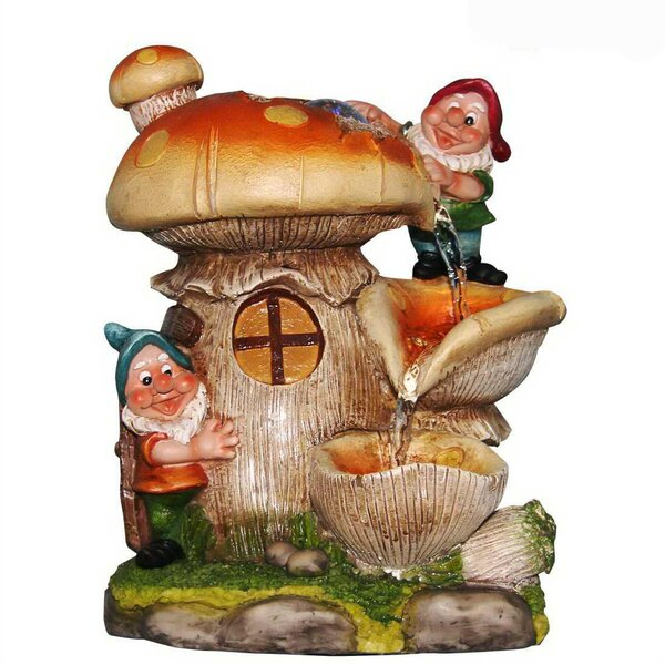 Resin 2 Cute Gnomes Sculptural Fountain by Sintechno