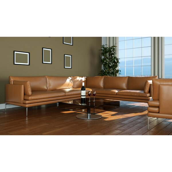 Alaysia Symmetrical Leather Sectional By Brayden Studio