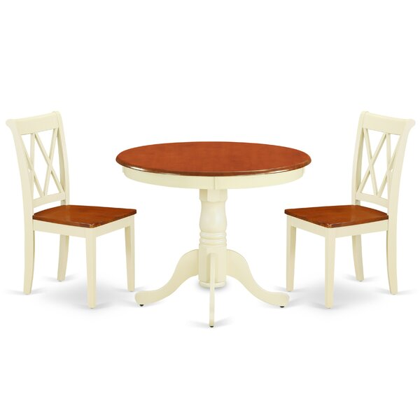 Kuykendall 3 Piece Solid Wood Breakfast Nook Dining Set by August Grove