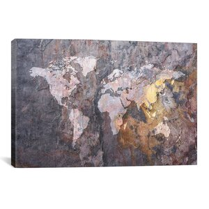 'World Map on Stone Background' Graphic Art Print by East Urban Home