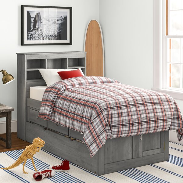 Giulia Twin Mates Bed with Bookcase Drawers and Trundle by Birch Lane™ Heritage