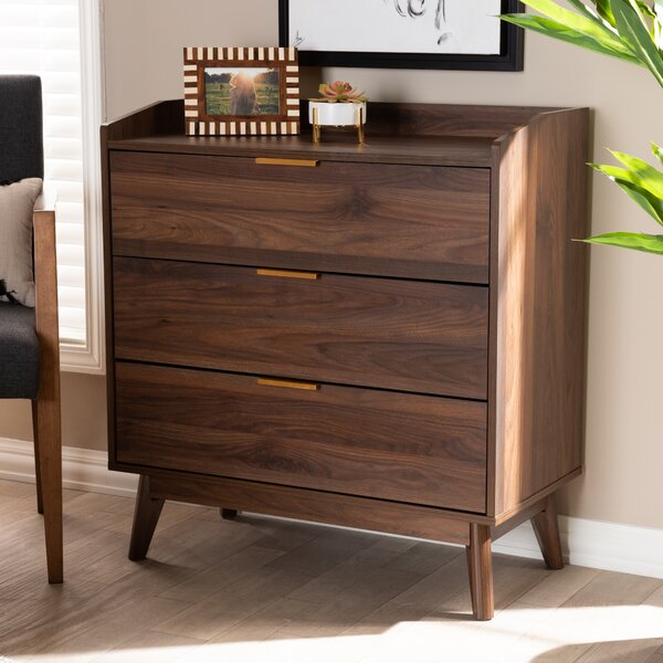 Abe Mid-Century Modern 3 - Drawer Bachelor's Chest in Brown by Foundstone Foundstone
