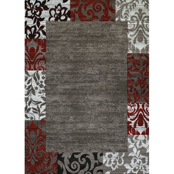 Studio Gray/White/Red Area Rug by United Weavers of America