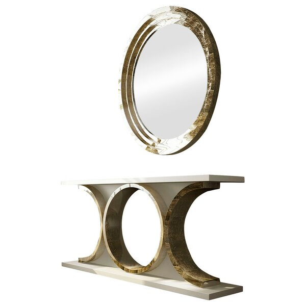 Laivai 70 Solid Wood Console Table and Mirror Set