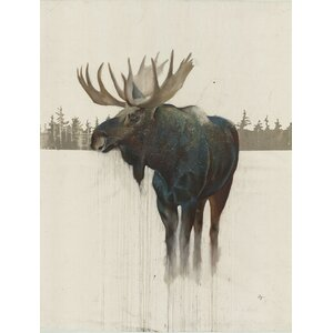 48 H x32 W Ready to Hang, 'Golden Moose' by Daniel St Amant, Wildlife Wall Art on Wrapped Canvas by Hobbitholeco.