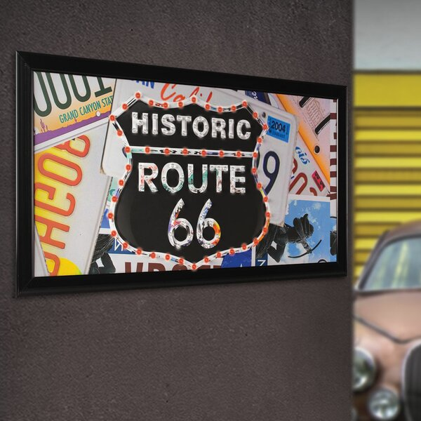 Framed Historic Route 66 LED Marquee Sign by Crystal Art Gallery