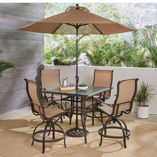 Buariki 5 Piece High-Dining Set with Umbrella by Fleur De Lis Living