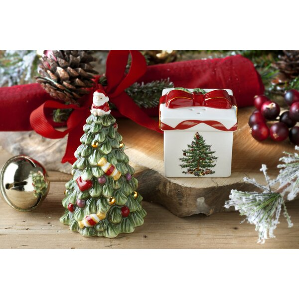 Christmas Tree Figural 2 Piece Tree And Gift Box Salt And Pepper Set By Spode.