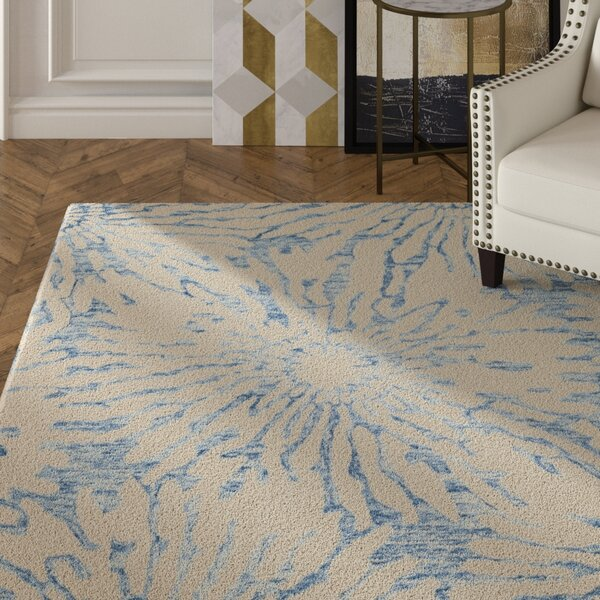 Romford Hand-Tufted Dark Blue/Ivory Area Rug by House of Hampton