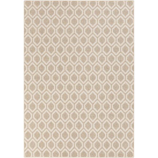 Buck Hill Beige/Ivory Geometric Machine Woven Wool Area Rug by George Oliver
