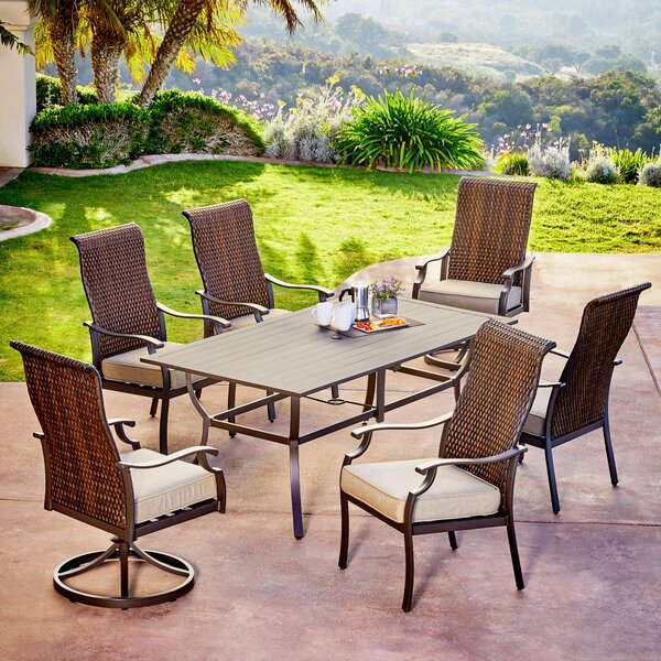 Kinlaw Rhone Valley 7 Piece Dining Set with Cushions by Bayou Breeze