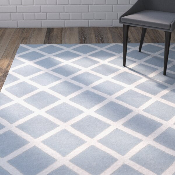 Wilkin Hand-Tufted Light Blue/Ivory Area Rug by Wrought Studio