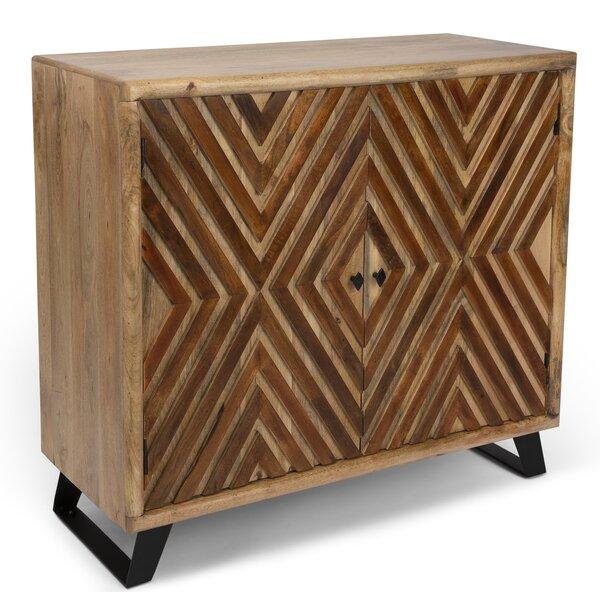 Kangley Acacia Wood Diamond Overlay 2 Door Accent Cabinet