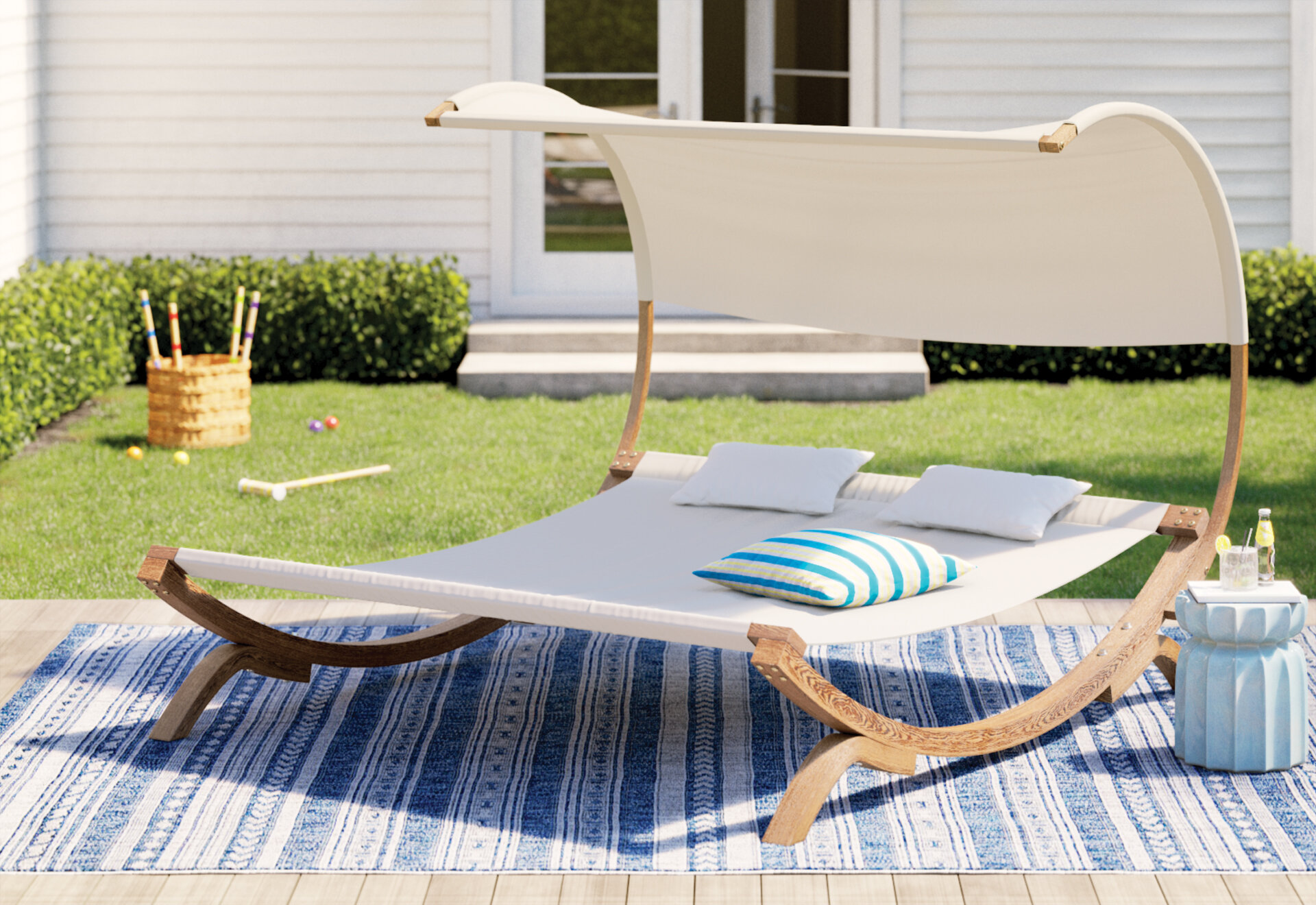 large shaded outdoor daybed