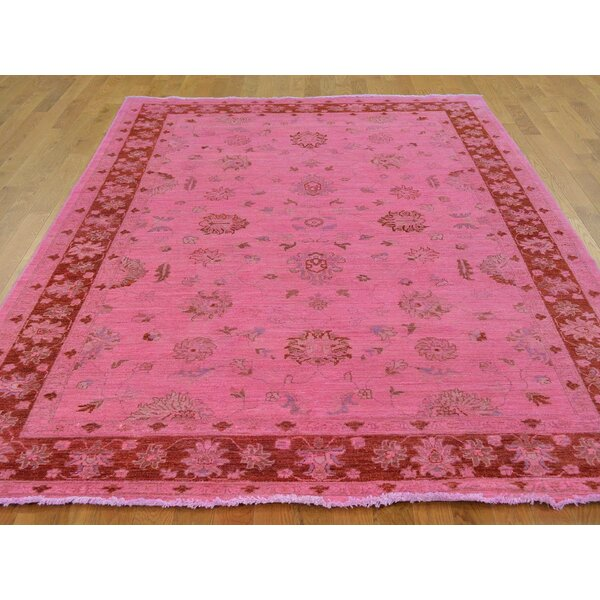 One-of-a-Kind Beaumont Overdyed Hand-Knotted Pink Wool Area Rug by Isabelline