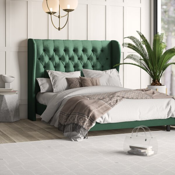 Carswell Tufted Wingback Upholstered Standard Bed by Mercury Row