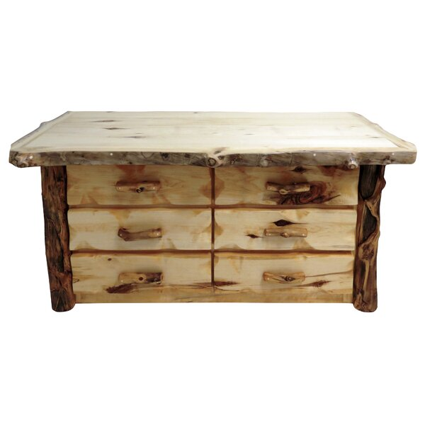 Aspen Grizzly 6 Drawer Double Dresser by Mountain Woods Furniture