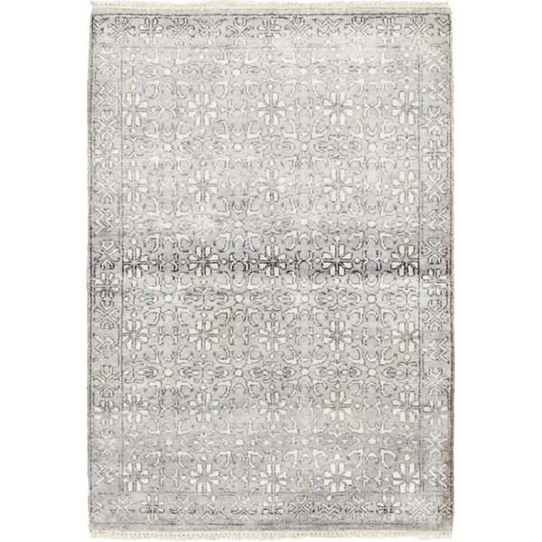 One-of-a-Kind Delmar Hand-Knotted Wool/Silk Gray Indoor Area Rug by Isabelline