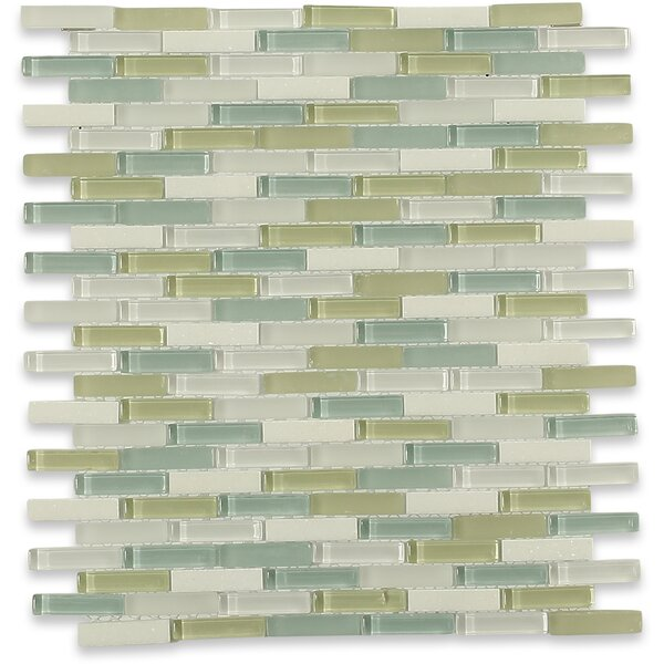 Cleveland 0.5 x 1.5 Glass/Marble Mosaic Tile in Frosted Light Green/Blue by Splashback Tile