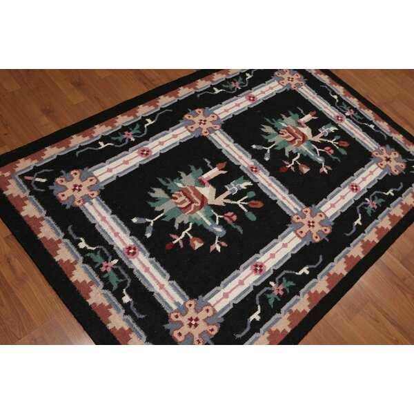 One-of-a-Kind Giuditta Reversible Hand-Knotted Wool Midnight Blue Area Rug by Astoria Grand