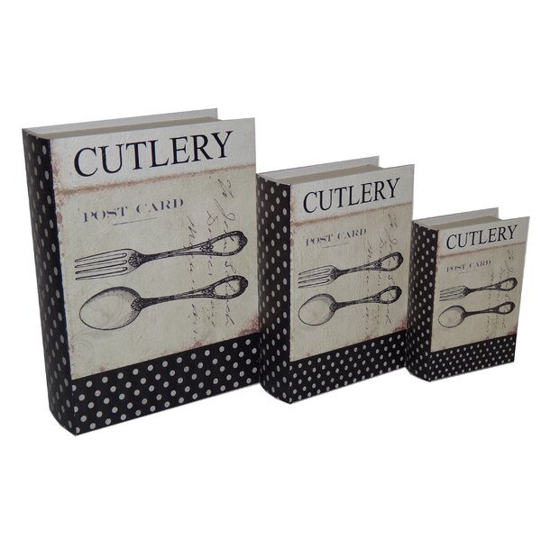 3 Piece Book Box with Vintage Cutlery Theme Set by Cheungs