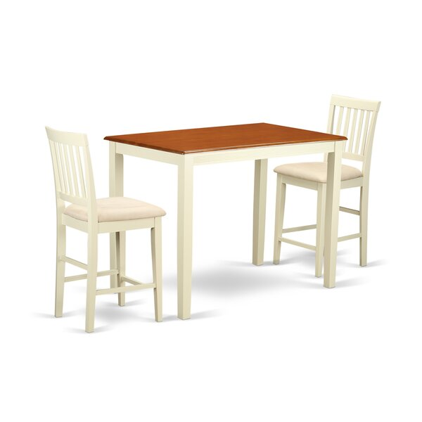 Yarmouth 3 Piece Counter Height Pub Table Set By Wooden Importers 2019 Sale