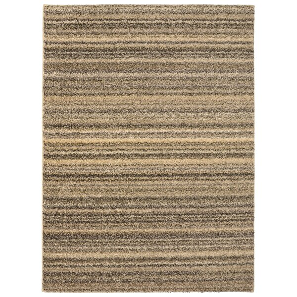 Gerace Striped Random Earthtone Tan Area Rug by Breakwater Bay