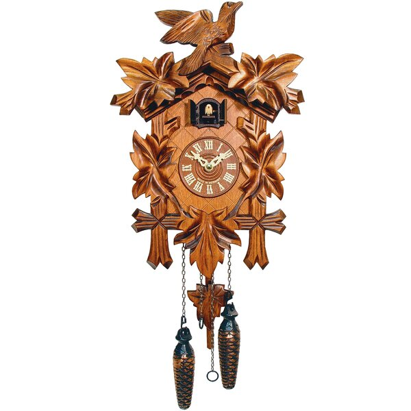 Battery-Operated Forest Carved Cuckoo Wall Clock by Loon Peak