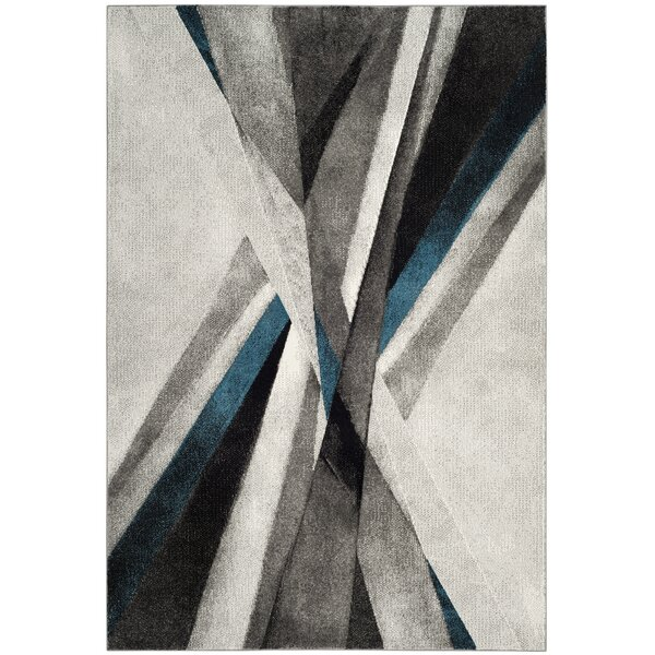 Anne Abstract Gray/Teal Area Rug by Orren Ellis