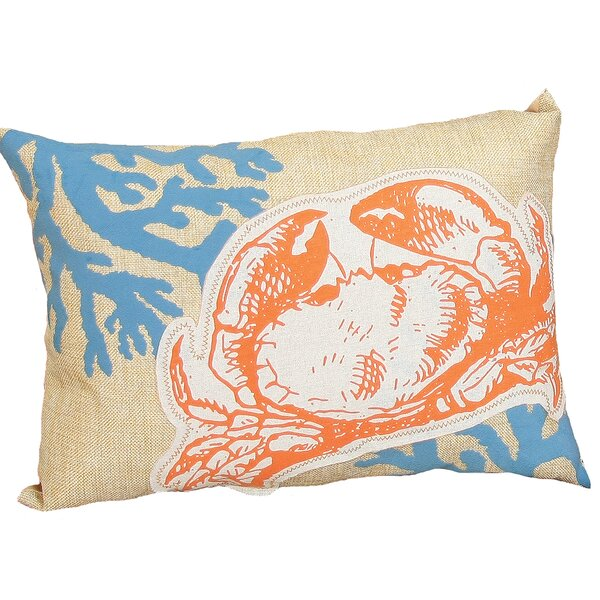 Coastal Applique Crab with Print Coral Decorative Lumbar Pillow by Xia Home Fashions