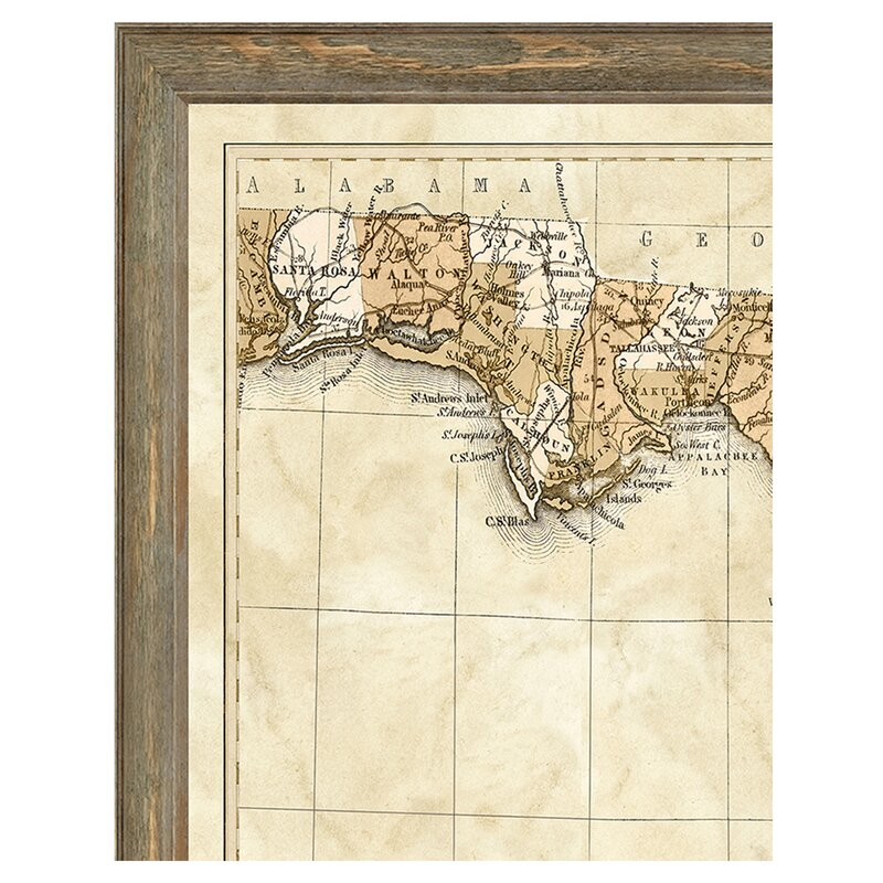 Vintage Print Gallery Map Of Florida Framed Graphic Art Print
