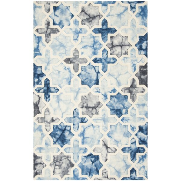 Corydon Hand Tufted Wool Dark Blue/Ivory Area Rug by Bungalow Rose