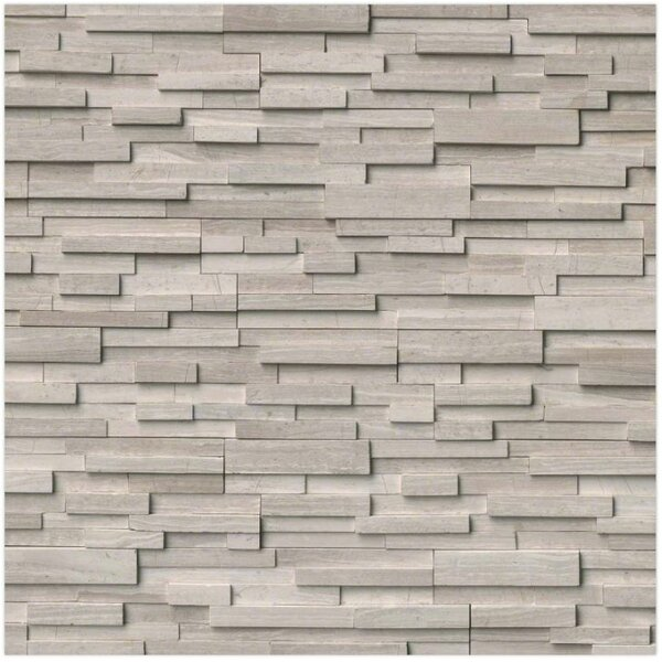 3D Honed Corner L-Panel 6 x 24 Marble Splitfaced Tile in White Oak by MSI