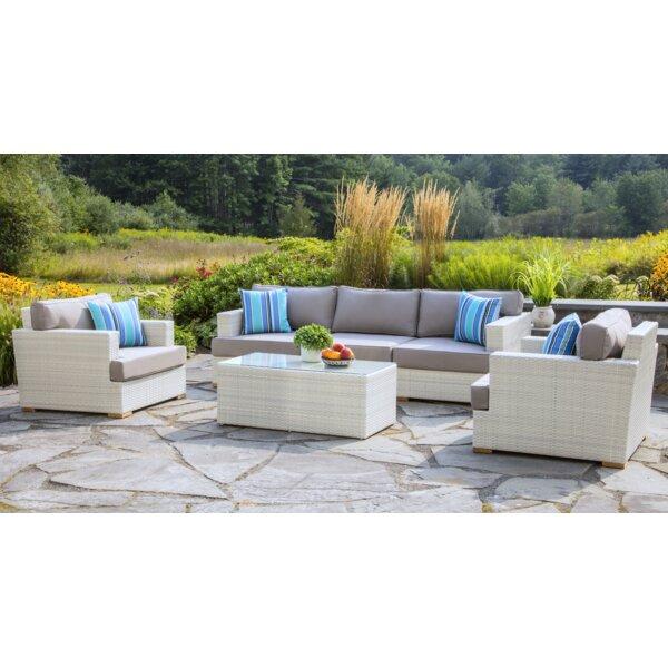 Mykonos Deep 6 Piece Rattan Sofa Seating Group with Cushions by Madbury Road