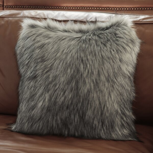 Alcide Fox Faux Fur Throw Pillow by Union Rustic