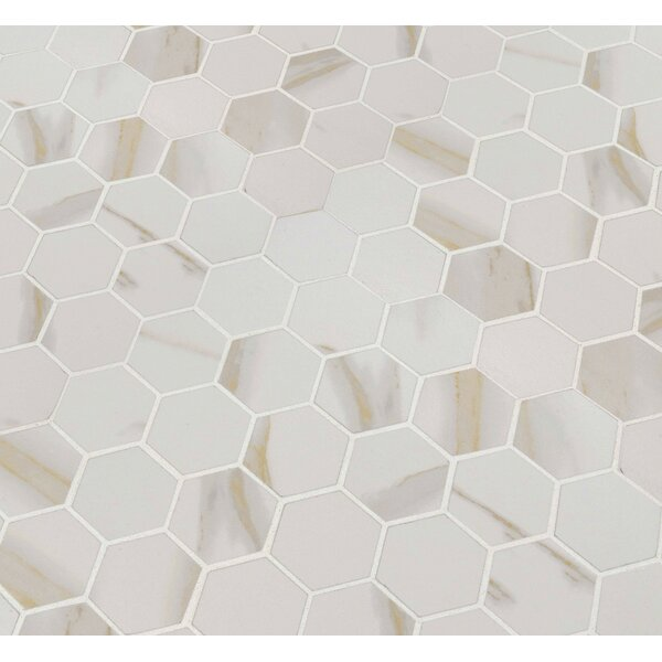 Calcatta 2 x 2 Hexagon Porcelain Mosaic Tile in White by MSI