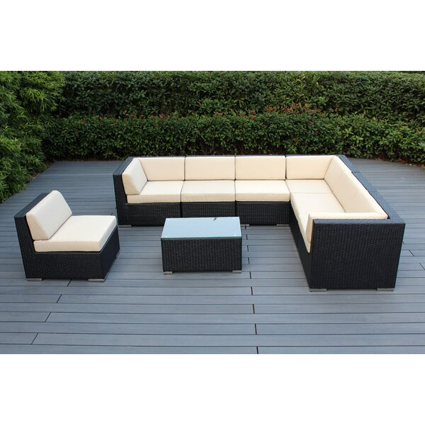 Baril 8 Piece Rattan Sectional Seating Group  with Cushions by Wade Logan Wade Logan