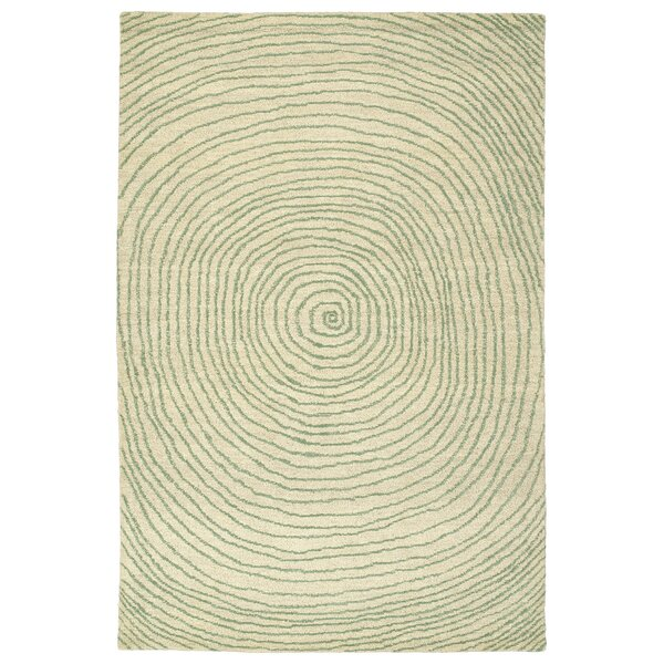 Caneadea Hand-Tufted Green Geometric Area Rug by George Oliver
