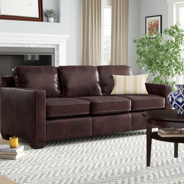 Buckhead Leather Sofa by Three Posts