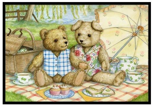 Summertime Teddy Bears Picnic Non-Slip Outdoor Door Mat