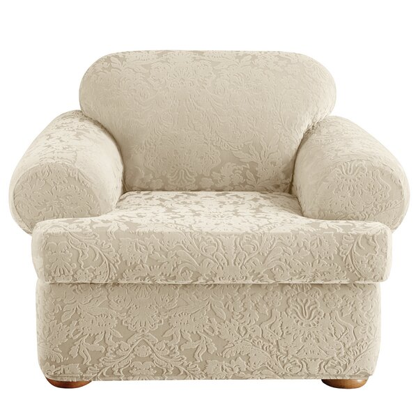 Stretch Jacquard Damask T-Cushion Armchair Slipcover By Sure Fit