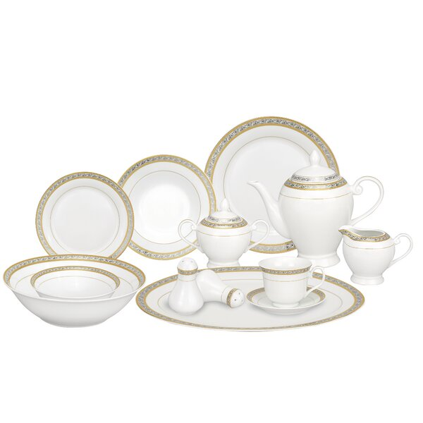 Safora Porcelain 57 Piece Dinnerware Set, Service for 8 by Lorren Home Trends