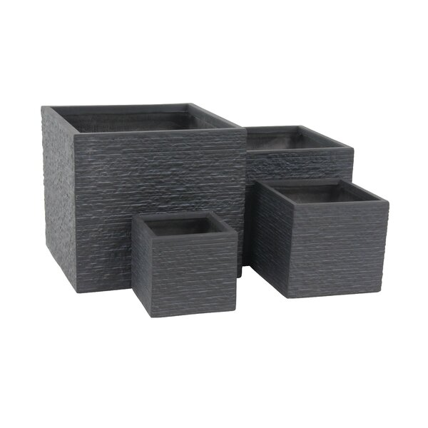 Modern Square 4-Piece Clay Planter Box Set by Cole & Grey