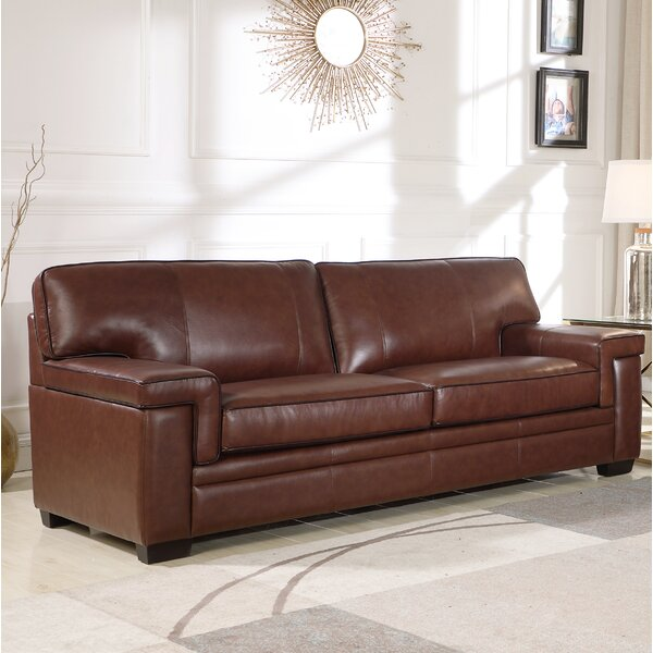 Online Shopping Bargain Cabott Leather Sofa by Three Posts by Three Posts