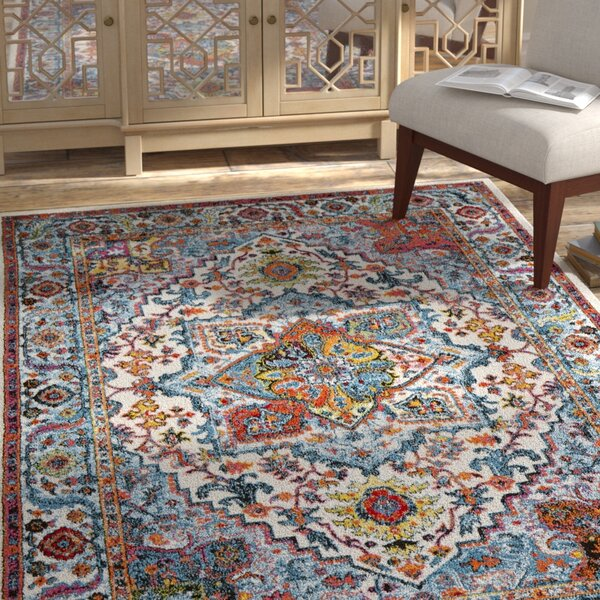 Amot Modern Oriental Cream/Blue/Yellow Area Rug by Bloomsbury Market