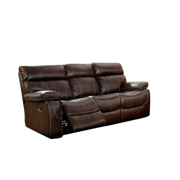 Helle Contemporary Sofa Leather Manual Wall Hugger Recliner [Red Barrel Studio]