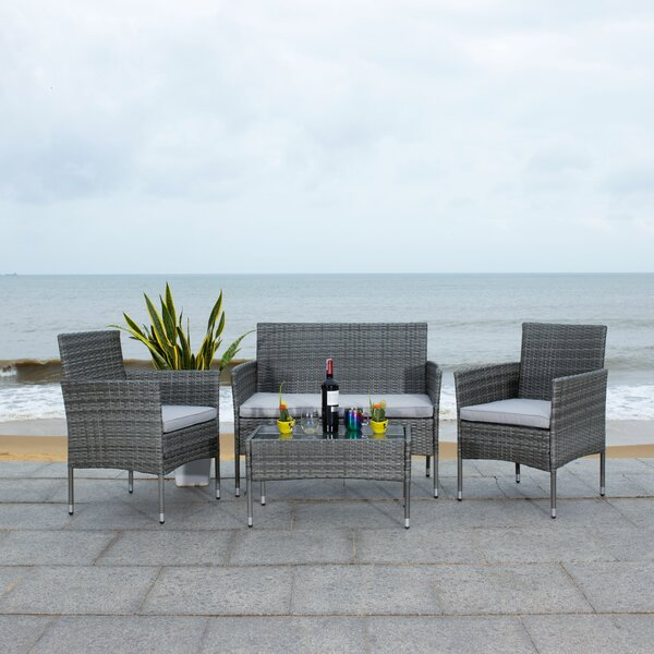 Hokendauqua 4 Piece Rattan Sofa Seating Group with Cushions by Ebern Designs