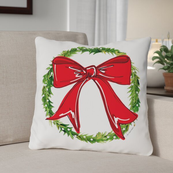 Bow Wreath Throw Pillow by The Holiday Aisle