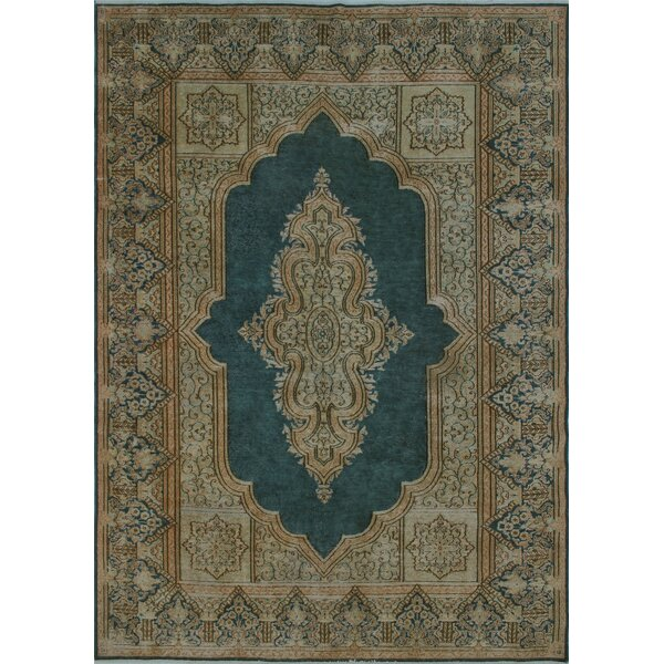Croxley Vintage Distressed Hand Knotted Wool Blue Area Rug by Canora Grey